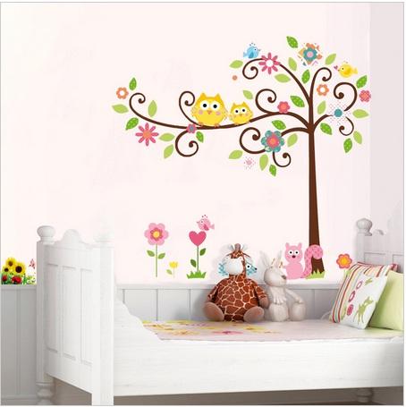 Naklejki cienne drzewo sowy s wki promocja hit for Stickers para habitaciones infantiles