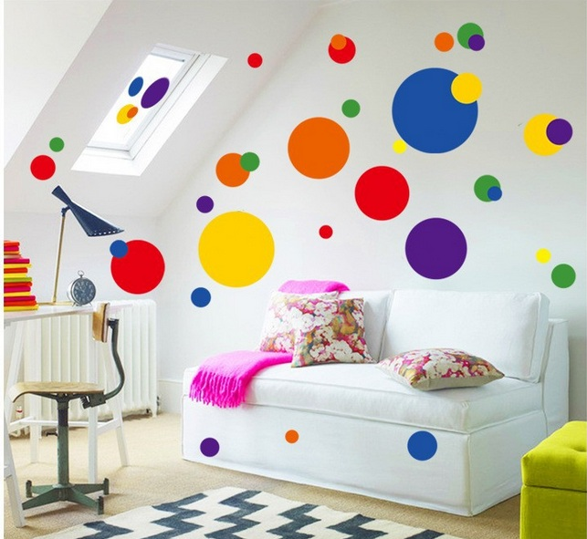 Naklejki cienne na cian kolorowe kropki grochy - Pinturas baratas online ...