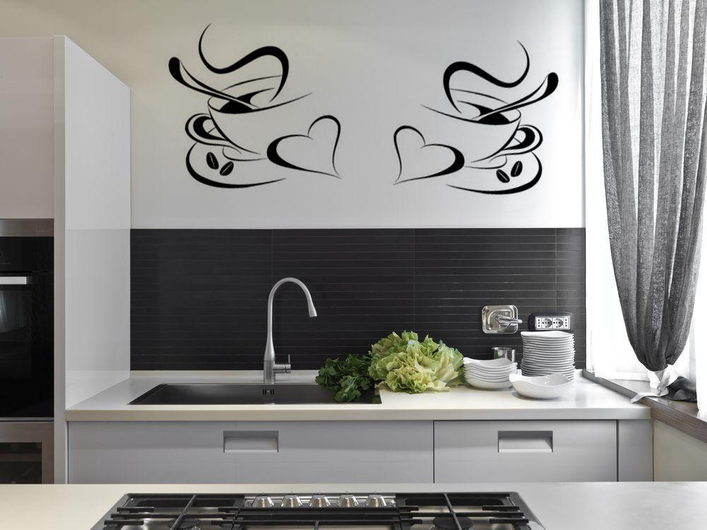 filiżanki kawy i naklejki Ścienne do kuchni dekoracyjne